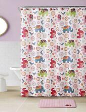 Pink Elephant Bathroom Set w/ Non-Skid Bath Mat, Shower Curtain, Hooks,& Liner
