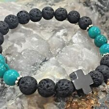 Aromatherapy diffuser Essential Oil Lava Bracelet Hematite Cross Turquoise Bead