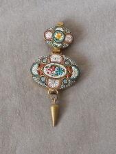 Fine Vintage Antique Floral  Micro Mosaic Pendant Lavalier