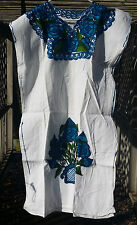 Maya Mexican Dress Embroidered Flowers Chiapas Puebla White Large