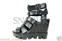 NEW WOMENS CUT OUT CHUNKY SANDALS LADIES BLOCK HIGH HEEL PLATFORM SHOES SIZE 3-8