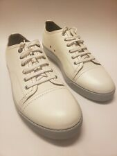 New LANVIN Men's Silver Airbrushed Leather Cap-Toe Sneakers, Size 13 US / 12 UK