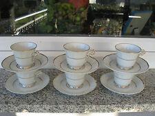 6 TASSES SUR SOUCOUPES Porcelaine LIMOGES BERNARDAUD FILET OR