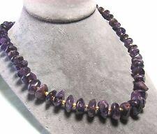 "Amethyst & Brass Bead Necklace 94.0 grams 24"" long"
