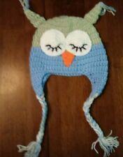 Baby Toddler blue/green Crochet Owl Hat beanie cap 12- 18 months