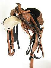 """THSL"" WESTERN GAITED HORSE SADDLE PKG TAN 17"" TOOLED/CARVED BLACK SEAT (1050)"