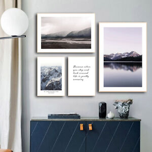 Mountain Lake Sunset Landscape Wall Art Canvas Nordic Poster Life Quote Print