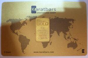 5 Grams PURE 24K GOLD KARATBARS 999.9 BOULLION Bullion Certified* Sealed Card