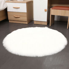 Faux Sheepskin Fluffy Area Rug Plain Soft Round Seat Cushion Light