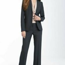 Theory Womens Pinstripe Tailor Stretch Wool Preston Pant Jacket Suit sz 6/8 Navy