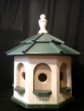 Medium Handcrafted Poly Gazebo Birdhouse Homemade Handmade Ivory & Green Roof
