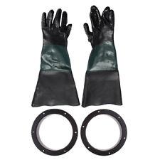 Pair of Heavy Duty Work Gloves w/Holders for Sandblasting Sand Blast Cabinet