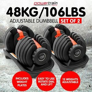 Powertrain 48kg ADJUSTABLE DUMBBELL SET HOME GYM EXERCISE FREE WEIGHTS
