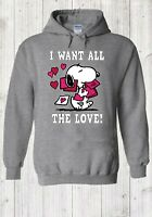 Disney Snoopy 'I want All The Love' Cute Hoodie Pullover Men Women Unisex 4444