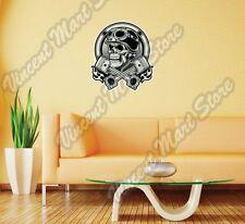"""Vintage Biker Skull Helmet Chopper Gift Wall Sticker Room Interior Decor 20""""X25"""""""