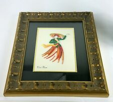 Vietnam Paper Quilling Hand Crafted Asian Art Print Matted & Framed Lady