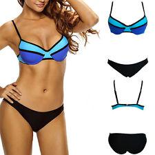2019 Blue/Black 2PC Swimsuit Bikini Bra Geometric Striped Padded Swimwear S-L US