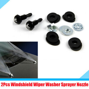 2x Universal Car Front Windshield Washer Nozzle Wiper Spray Washers Kit Aluminum