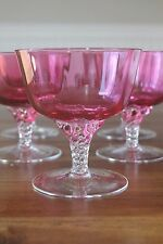 Set of 9 George Borgfeldt LISA Cranberry Crystal Optic Sherbets Clear Twist Stem