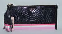VICTORIAS SECRET BLACK PINK CLUTCH MAKEUP COSMETIC BEAUTY BAG POUCH CASE WALLET