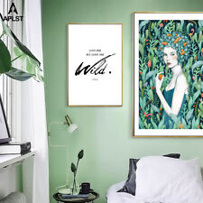 Flower Women Picture Prints Famous Quote Painting Poster Canvas Wall Art Decals