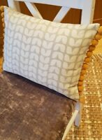 Retro modern Floral taupe cream  tulip cotton  cushion cover &  mustard pom