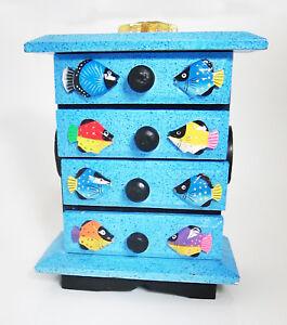 Small decorative chest of drawers/storage box/jewellery box, hand-painted FISH