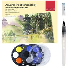 Aquarell Postkartenblock Set mit 20 Blatt Postkarten, 12 Aquarellfarben, Pinsel