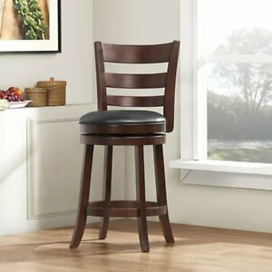 Set of Two Swivel 30 Inch Bar Height Bar Stools, PU Back and Seat, Dark Brown