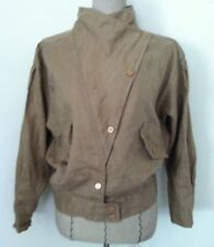 Vintage 80's women jacket khaki brown faux linen long sleeve casual size M
