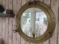 "20"" Porthole Mirror ~ Antique Brass Finish ~ Nautical Maritime Cabin Wall Decor"