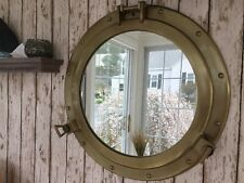 "20"" Porthole Mirror ~ Antique Brass Finish ~ Nautical Maritime Cabin Wall Decor"