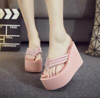 Womens High Wedge Heel Platform Flip Flops Thong Beach Slippers Sandals Shoes