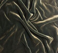 "Hand Painted Silk Velvet Fabric - Antique Gold on Mallard Green 9""x22"" remnant"
