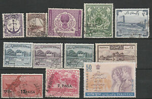 P1 Pakistan - Lovely lot of 19 stamps, 4 mint - CV $9