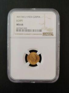 Egypt 20 Piastres Gold 1923/AH 1341 NGC MS 64