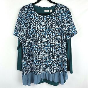 LOGO by Lori Goldstein Layered Tunic Top T-Shirt Size 1X print Ruffle Bottom