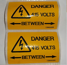 2 x Yellow Self Adhesive label DANGER 415 VOLTS BETWEEN 80mm x 50mm