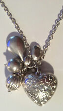 "Love Heart, Pear Drop, & Beads Cluster Necklace Silver Colour Metal 19"" Chain"