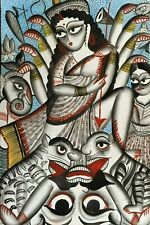 Original Kalighat patachitra pattachitra Indian Painting Hindu Goddess Durga