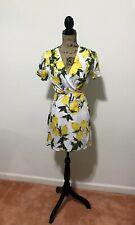 NWT Dress Forum Los Angeles Lemon Blossom Print White Tie Wrap Summer Sundress S