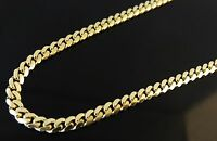 """14K SOLID YELLOW GOLD MIAMI CUBAN LINK WOMEN/ MEN'S NECKLACE CHAIN 16""""-30"""" 4MM"""