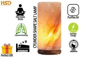 HSD Natural Crystal Rock Salt Cylinder Shape Salt Lamp Air Ionizer Perfect Gift