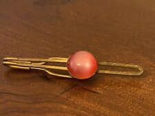 Vintage Gold Tone Tie Bar Clip Clasp Pink Red Stone Cabochon