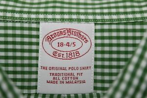 BROOKS BROTHERS Traditional Fit Dress Shirt 18 - 34/35 Green White Checks Cotton