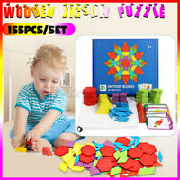 155Pcs Wooden Jigsaw Puzzle Games Montessori Educational Toys For Kids