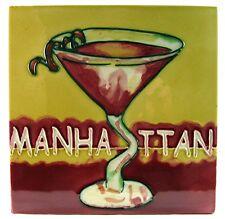 "Drinks Kitchen Art Tile ""Manhattan"" 8x8 Bar Decor Wall or Tabletop Accent"