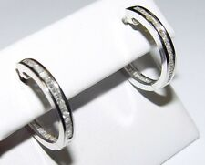 "Elegant 1.00CT Diamond Hoop Earrings ""INSIDE AND OUT"" 14K gold 20MM $2980"