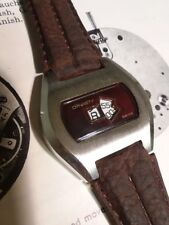 Vintage Jump Hour Enduro Dynasty Rare Burgundy Swiss Made 1970s Mens Wristwatch