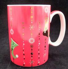 Starbucks Holiday 2006 Red Gold Elf Stockings Retro Snowflakes 14 Oz Coffee Mug